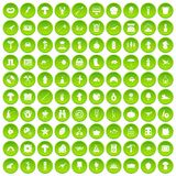 100 hobby icons set green circle Stock Photos