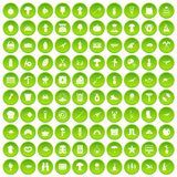 100 hobby icons set green. 100 hobby icons set in green circle isolated on white vectr illustration Royalty Free Illustration