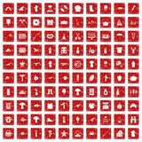 100 hobby icons set grunge red. 100 hobby icons set in grunge style red color isolated on white background vector illustration Stock Image