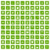 100 hobby icons set grunge green. 100 hobby icons set in grunge style green color isolated on white background vector illustration royalty free illustration