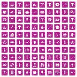 100 hobby icons set grunge pink. 100 hobby icons set in grunge style pink color isolated on white background vector illustration Stock Photography