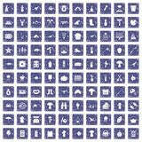 100 hobby icons set grunge sapphire. 100 hobby icons set in grunge style sapphire color isolated on white background vector illustration Royalty Free Stock Photo