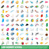 100 hobby icons set, isometric 3d style. 100 hobby icons set in isometric 3d style for any design vector illustration royalty free illustration