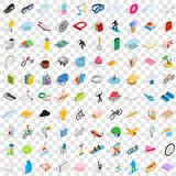 100 hobby icons set, isometric 3d style. 100 hobby icons set in isometric 3d style for any design vector illustration Royalty Free Stock Images