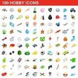 100 hobby icons set, isometric 3d style. 100 hobby icons set in isometric 3d style for any design illustration vector illustration