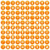 100 hobby icons set orange. 100 hobby icons set in orange circle isolated on white vector illustration stock illustration