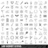 100 hobby icons set, outline style Stock Photo