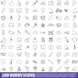 100 hobby icons set, outline style. 100 hobby icons set in outline style for any design vector illustration stock illustration