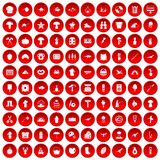100 hobby icons set red. 100 hobby icons set in red circle isolated on white vector illustration vector illustration