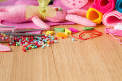Hobby leisure concept. Needlework objects Stock Photography