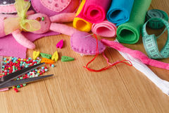Hobby leisure concept. Needlework objects Royalty Free Stock Photos