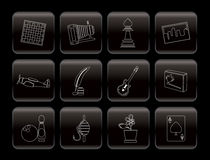 Hobby, Leisure and Holiday Icons. Vector Icon Set Royalty Free Stock Photography