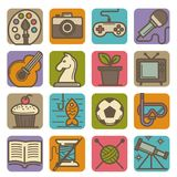 Hobby and leisure time activities bright icons set. Graphic art, intellectual and computer games, TV programs, modern music, indoor plant, cooking classes Royalty Free Stock Photography