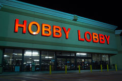 Hobby Lobby. JACKSONVILLE, FL - MARCH 27, 2014: A Hobby Lobby store at night. Hobby Lobby is a privately held retail chain of arts and crafts stores in the U.S stock photo