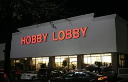 Hobby Lobby Store Front. Hobby Lobby sells arts and crafts, custom framing, home decor & seasonal products Stock Image