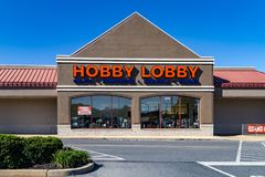 The Hobby Lobby Store in Lancaster, PA. Lancaster, PA, USA - October 18, 2018: Hobby Lobby Stores is a private for-profit corporation that owns and operates a royalty free stock image
