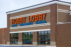 Hobby Lobby Store. MARSHALLTOWN, IA/USA - AUGUST 9, 2015: Hobby Lobby store exterior. Hobby Lobby is a chain of retail arts and crafts stores based in Oklahoma royalty free stock photography