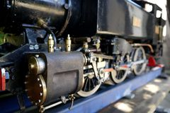 Hobby: model steam train engine close Royalty Free Stock Images