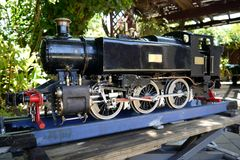 Hobby: model steam train engine Royalty Free Stock Photos