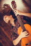 Happy man with the instrument. Stock Photography