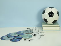 Hobby: music and football Royalty Free Stock Images