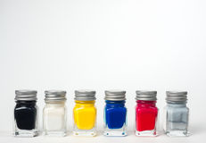 Hobby Paint. Six small jars of hobby paints as used on models Royalty Free Stock Images