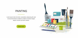 Hobby. Painting web banner. Paints, brushes. Back to school stock illustration