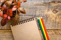 Hobby painting - workplace with colored pencils, blank open notebook Stock Images