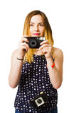 Hobby photographer with retro film cameras Royalty Free Stock Photo
