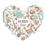 Hobby poster. Heart from hand made tools. Doodle illustration. Craft items heart shape isolated on white background. Hobby time royalty free illustration