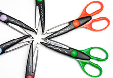 Hobby scissors. Collection of hobby / scrapbooking scissors with different patterns Royalty Free Stock Photos