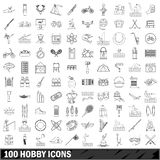 100 hobby icons set, outline style. 100 hobby set in outline style for any design illustration royalty free illustration