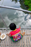 Hobby of thai children people in holiday is fishing at Baan Nato Stock Image