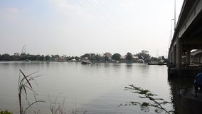 Hobby of thai people in holiday is fishing at chaophraya river stock footage