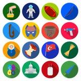 Hobby, turism, historia och annan rengöringsduksymbol i plan stil vård- förbättring, sportsymboler i uppsättningsamling Royaltyfria Bilder