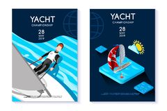 Hobby Vector Template for Yacht Club. Hobby template, tournament or competition insignia, isometric sail boat as insignia for hobby competition, this is a Stock Image