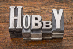 Hobby word in metal type Royalty Free Stock Image