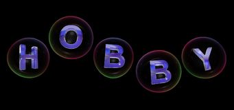The hobby word in bubble. The hobby word in soap bubble on black background,3d rendered Stock Photos