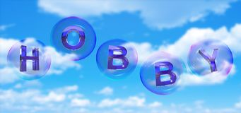 The hobby word in bubble. The hobby word in soap bubble on blue sky background,3d rendered Stock Images
