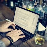 Hobby Writer Working Typing Article Concept. Human Hands Using Computer Notebook Hobby Writer Working Typing Article Royalty Free Stock Photography