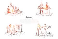 Hobbyer - folk som tar omsorg av växter och att laga mat och att måla och att planlägga uppsättningen för klädervektorbegrepp stock illustrationer