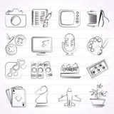 Hobbyer och fritidsymboler Royaltyfria Bilder