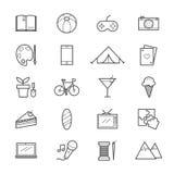 Hobbys en Activiteitenpictogrammenlijn Stock Afbeeldingen