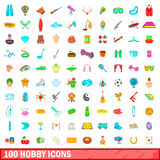 100 hobbysymboler uppsättning, tecknad filmstil Royaltyfria Foton