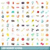 100 hobbysymboler uppsättning, tecknad filmstil Royaltyfri Foto