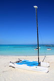 Hobie Cat in Caribbean beach landed in sand Royalty Free Stock Image