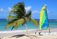 Hobie Cat catamaran ready for tourists at Bavaro Beach in Punta Cana Stock Photos