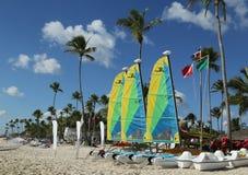 Hobie Cat catamaran ready for tourists at Playa Bayahibe Beach in La Romana Royalty Free Stock Image