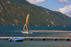 Hobie cat sailing on Lac du Bourget Stock Photos