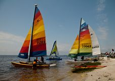 Hobie Cats on Florida`s Gulf Coast. Hobie Cats being prepared for launch on Florida`s Gulf Coast royalty free stock photo